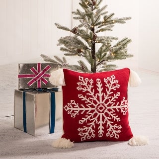 Link to Glitzhome 18-Inch Knitted Snowflake Red Pillow Cover with Tassels Similar Items in Christmas Decorations