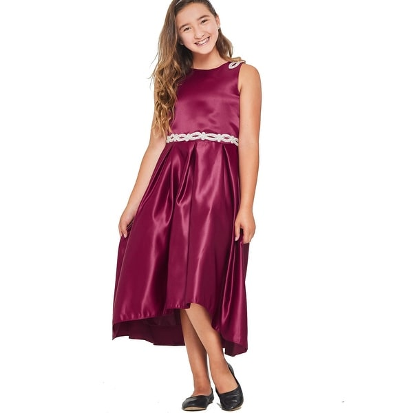 0c0cfed61 Shop Good Girl Girls Burgundy Solid Satin Hi-Low Junior Bridesmaid Dress 10  - Free Shipping Today - Overstock - 28299922