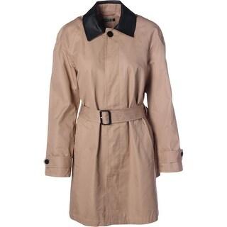 Lauren Ralph Lauren Womens Ajiona Trench Coat Faux Trim Long Sleeves