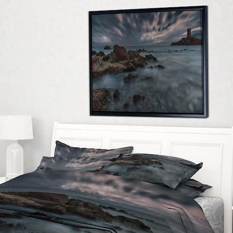 Designart 'French Riviera Coastline' Landscape Photography Framed Canvas Art Print