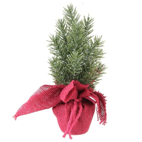 "8.5"" Metallic Finished Mini Pine Christmas Tree in Burlap Covered Vase - green"