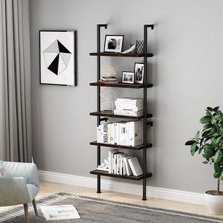 LANGRIA Industrial 5-Tier Ladder Shelf Bookcase, Wall-mounted Wood Shelves Bookshelf with Metal Frame