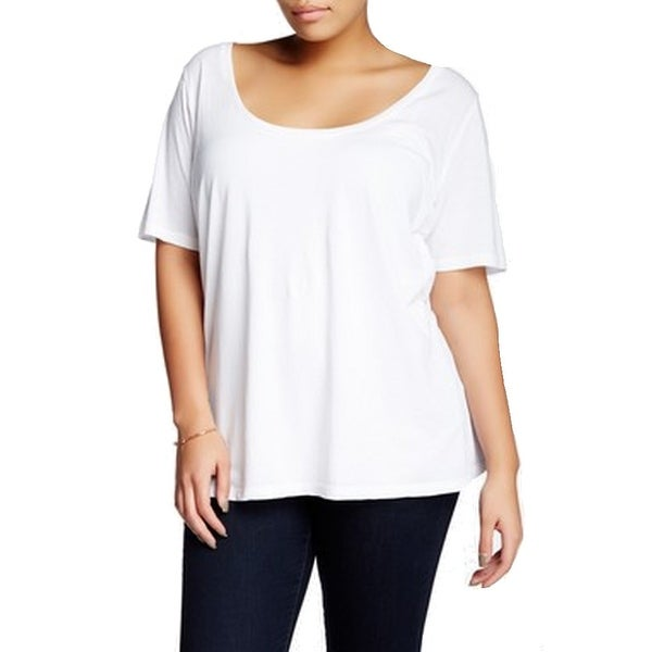 56f7d648715f Shop Susina NEW White Women's Size 1X Plus Scoop-Neck Tee T-Shirt - Free  Shipping On Orders Over $45 - Overstock - 19269952