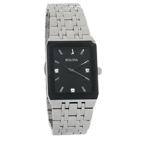 Bulova Men's 96D145 'Quadra' Stainless Steel Watch - Black