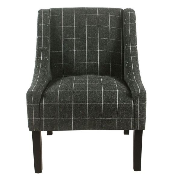 HomePop Modern Swoop Arm Accent Chair - Black Windowpane