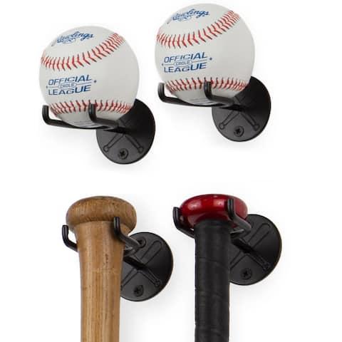 Wallniture Sporta Baseball Bat/ Ball Holder for Man Cave Decor, Steel, Black (Set of 4)
