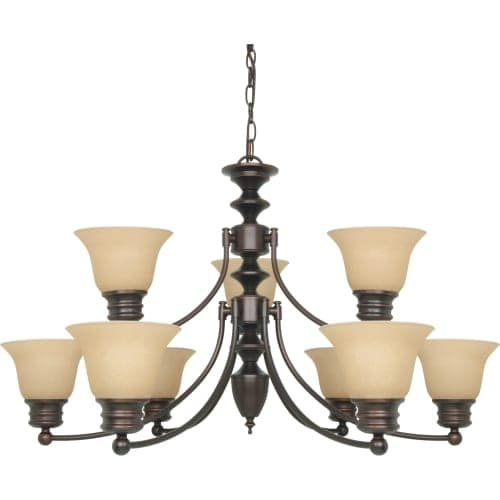 "Nuvo Lighting 60/3131 Empire 9 Light 32"" Wide Chandelier with Alabaster Bell Glass Shades"