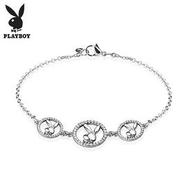 Three Round Multi Paved Gemmed Playboy Bunny Logo Stainless Steel Chain Bracelet (10 mm) - 7.25 in