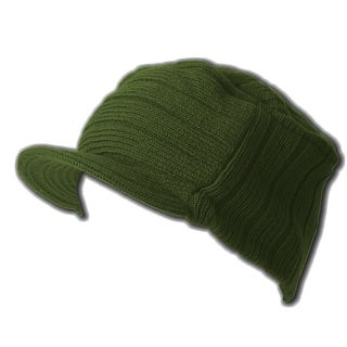 Flat Top Jeep Cap - Stylish Beanie Ribbed Cap - Olive