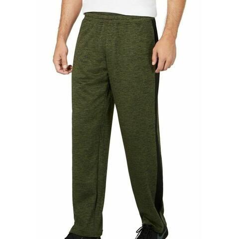 Ideology Mens Track Pants Green Size Large L Space Dye Open-Hem Stretch