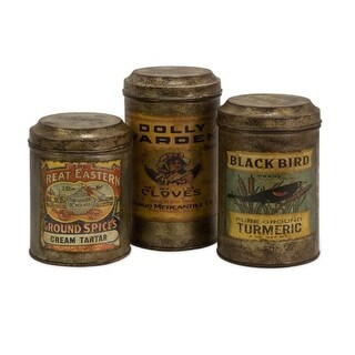 Set of 3 Antique Vintage Label Metal Canisters 8""