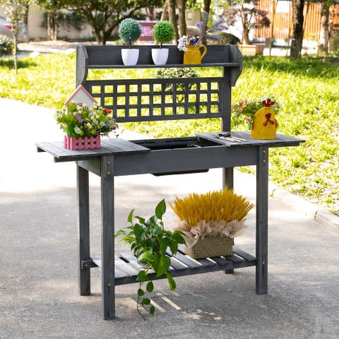 Outsunny 39'' x 18'' x 55'' Wood Garden Potting Work Table with Hidden Storage, Sink Basin, & Below Clapboard