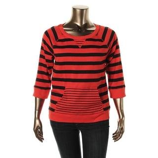 Jones New York Womens Cotton Striped Pullover Sweater - XS