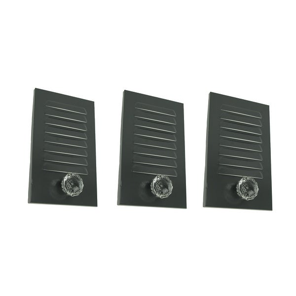 Grey Metal Locker Panel with Acrylic Door Knob Wall Hook Plaques Set of 3 - 11 X 6.75 X 2.25 inches