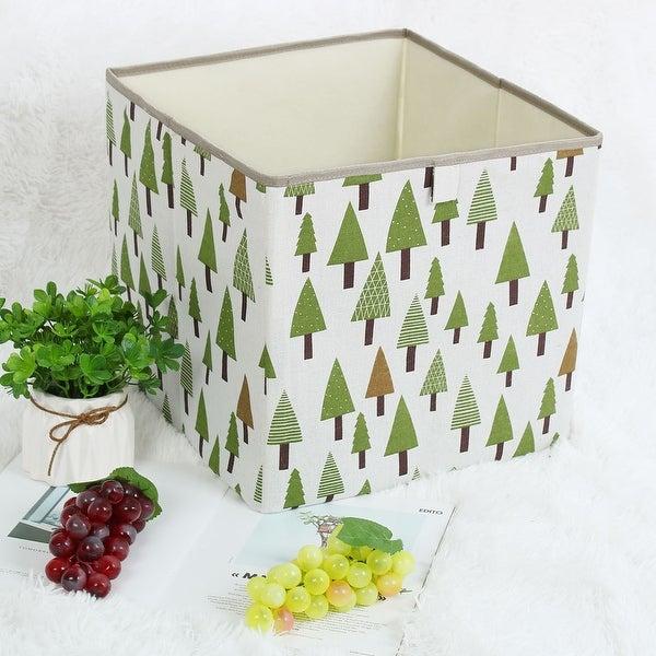 "Linen Fabric Storage Bin Toy Box Organizer 13"" x 13"" x 13"" Green Tree Style - green tree - 13"" x 13"" x 13"""