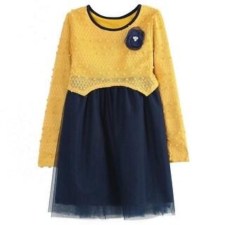 Richie House Little Girls Yellow Navy Dress Layered Bottoms Sweet Sweater 2-6
