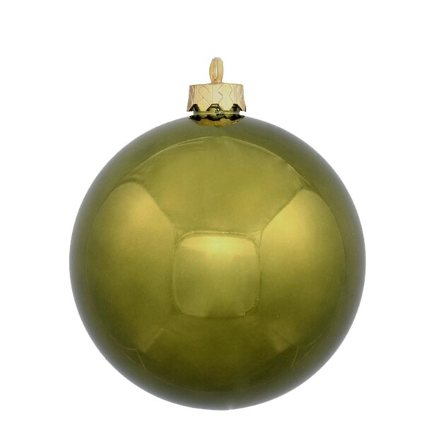 "12ct Shiny Olive Green Shatterproof Christmas Ball Ornaments 4"" (100mm)"
