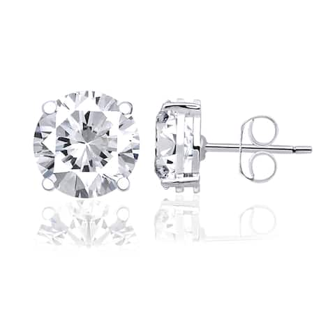 White Topaz Sterling Silver Round Stud Earrings by Orchid Jewelry