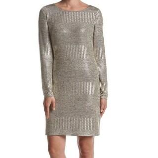 Jessica Howard NEW Gold Womens Size 12 Metallic Scoop Neck Sheath Dress