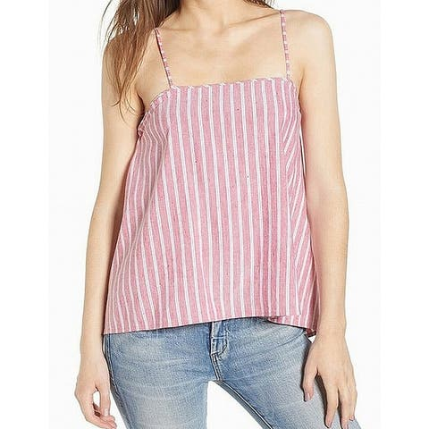 Leith Women's Top Pink Size Small S Tank Camisole Striped Button Back
