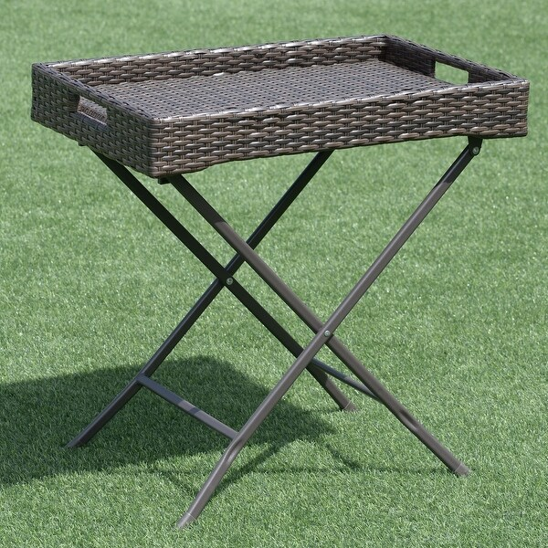 Brown Rattan Side Table Tray Table Bedside Coffee Wine Side Desk Display Stand