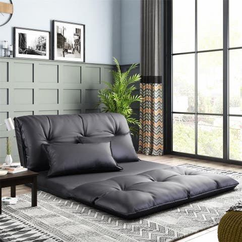 Porch & Den Adjustable Foldable Floor Sofa with Two Pillows