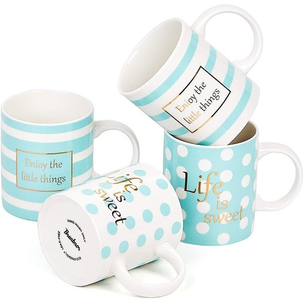 Bruntmor Set Of 4 Ceramic New Bone China Love Inspirational Coffee Mugs with gold decal, 11 Oz.. Opens flyout.