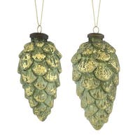Club Pack of 12 Green and Gold Pine Cone Christmas Wall Hanging Ornaments 8""