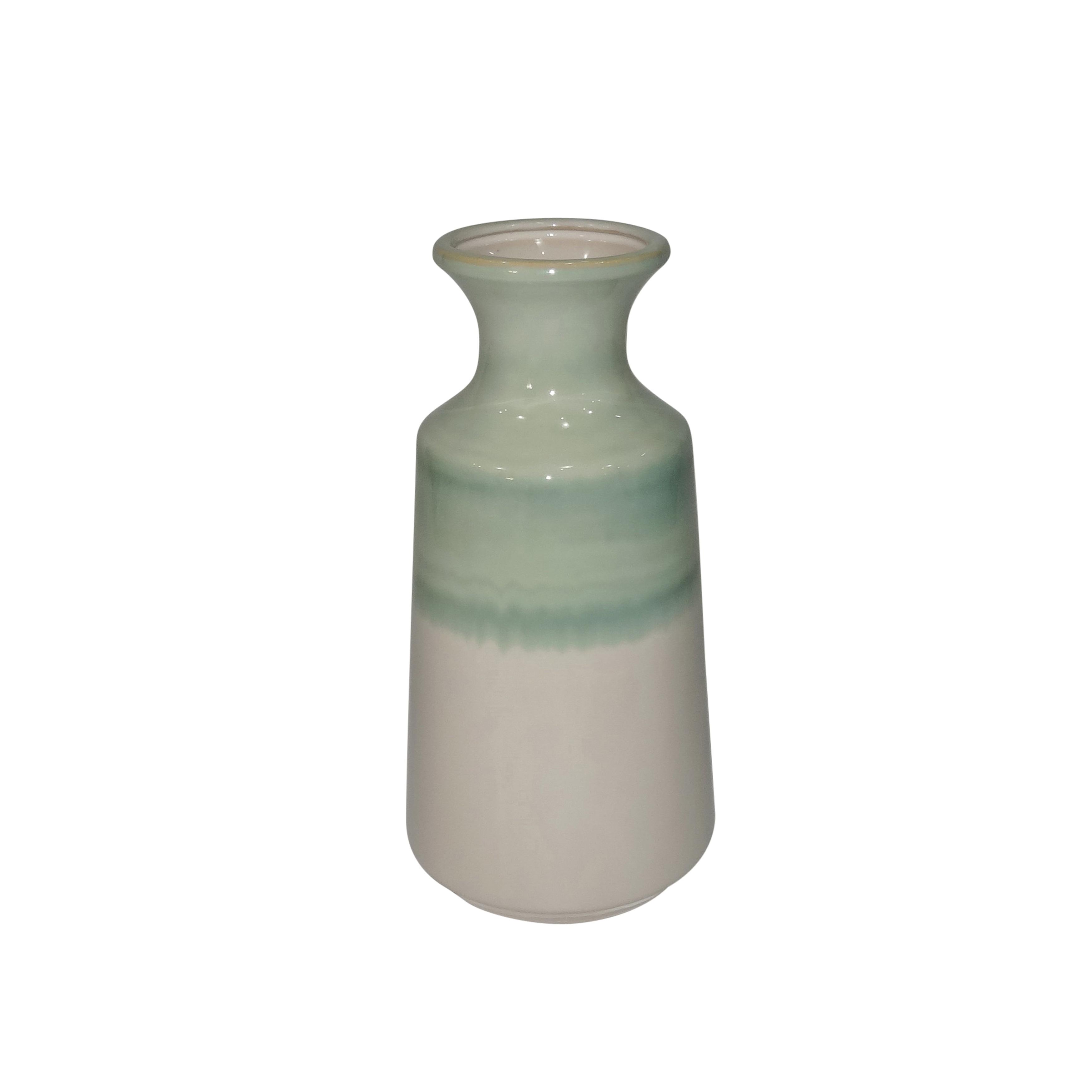 Dual Tone Ceramic Vase with Round Opening, Medium, Green and White