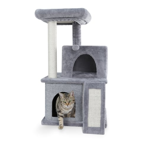 33.9''H Siscal Cat Tree with Playhouse and Dangling Toy