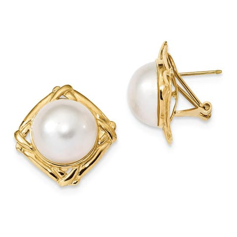 14K Yellow Gold 13-14mm White Mabe Freshwater Cultured Pearl Omega Back Earrings by Versil