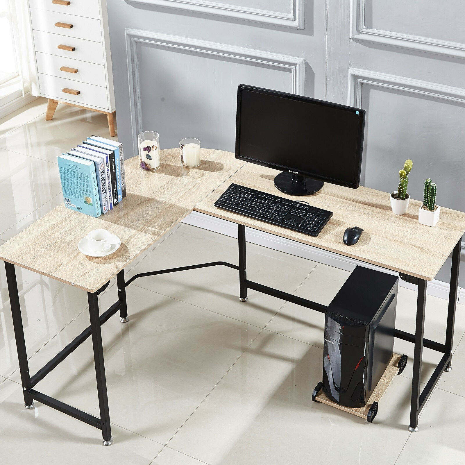 L-Shaped Corner Desk Computer Desk Laptop Table Steel Office Home Workstation-L