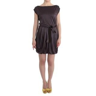 GF Ferre GF Ferre Brown Mini Jersey Shift Belted Dress