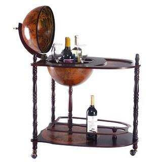 Costway Wood Globe Wine Bar Stand 34'' H 16th Century Italian Rack Liquor Bottle Shelf