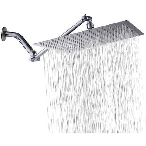 12 Inch Solid Square Ultra Thin 304 Stainless Steel Rain Shower Head