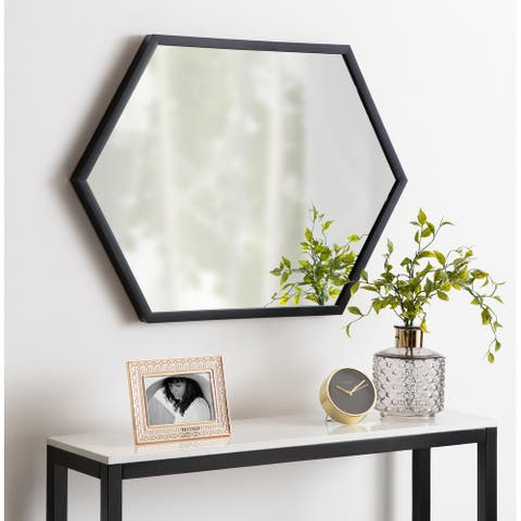Kate and Laurel Laverty Framed Hexagon Wall Mirror