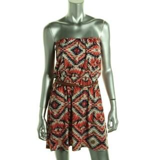 Trixxi Womens Juniors Matte Jersey Printed Casual Dress
