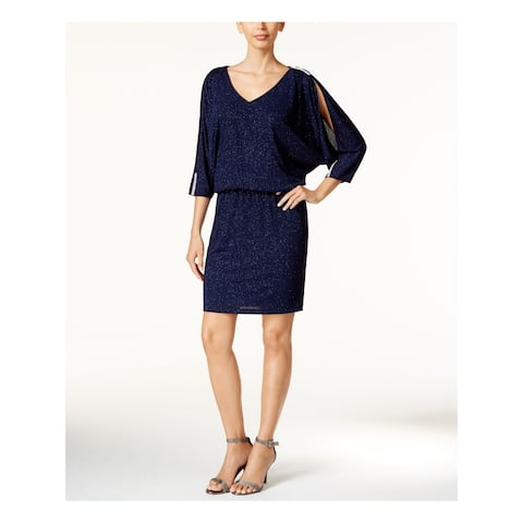 MSK Womens Navy Long Sleeve Knee Length Blouson Formal Dress Size 8