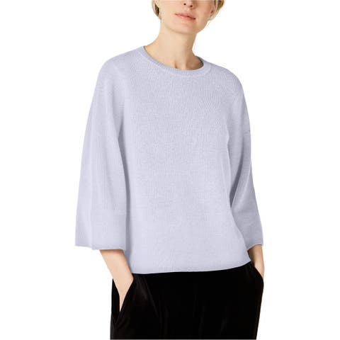 Eileen Fisher Womens Crew Neck Ribbed Pullover Sweater, Blue, X-Large