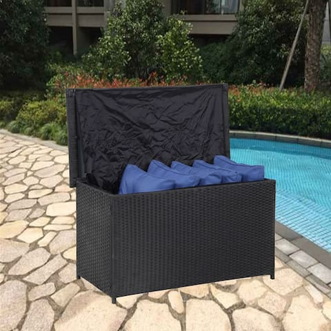 Outdoor Living Wicker Patio Furniture Rectangle Storage Box for Cushions Pillows