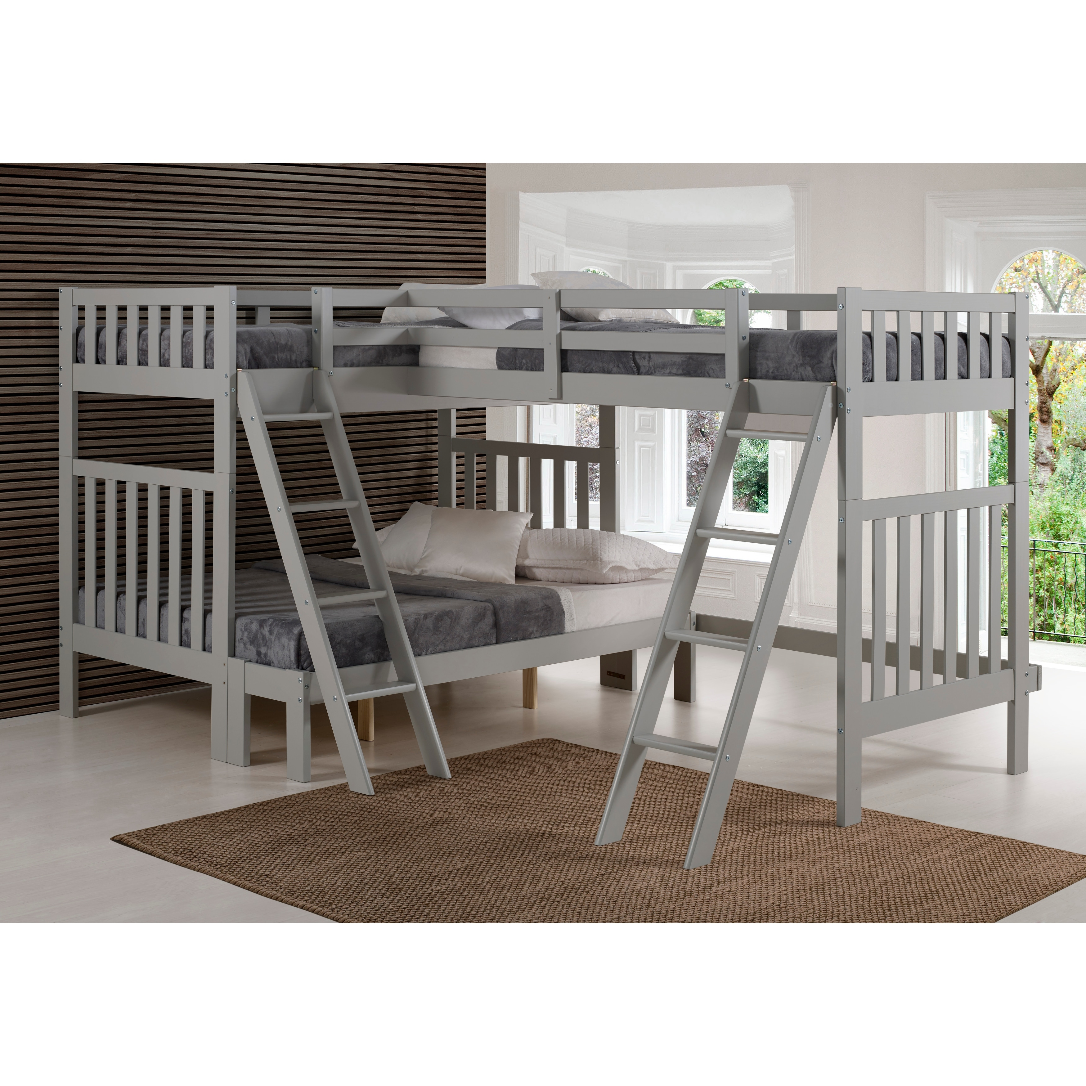 Picture of: Aurora Solid Wood Twin Over Full Bunk Bed With Tri Bunk Extension Overstock 22406188