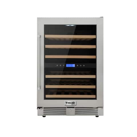 "Thor Kitchen TWC2401DO 24"" Wide 46 Bottle Capacity Built-In, Free Standing Wine Cooler with Full Extension Smooth-Glide Wine"