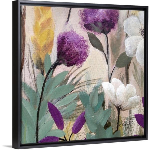 """Square White Floral One"" Black Float Frame Canvas Art"