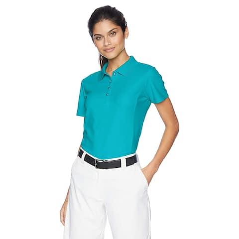 Greg Norman Women's Protek Micro Pique Short Sleeve Polo,, Peacock, Size X-Small