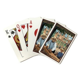 Amish Country - Barn Raising - Lantern Press Artwork (Playing Card Deck - 52 Card Poker Size with Jokers)