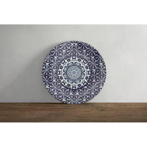 Amrita Sen Holy Tie Die Flower 10 in Decorative Microwave Safe Thermosaf Dinner Plate