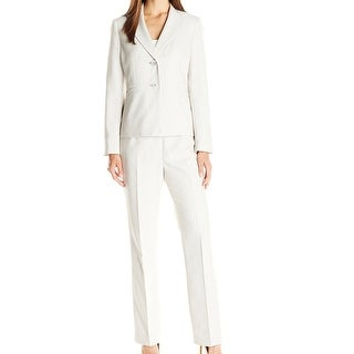 Le Suit NEW Beige Women's Size 10 Notch Collar Striped Pant Suit Set