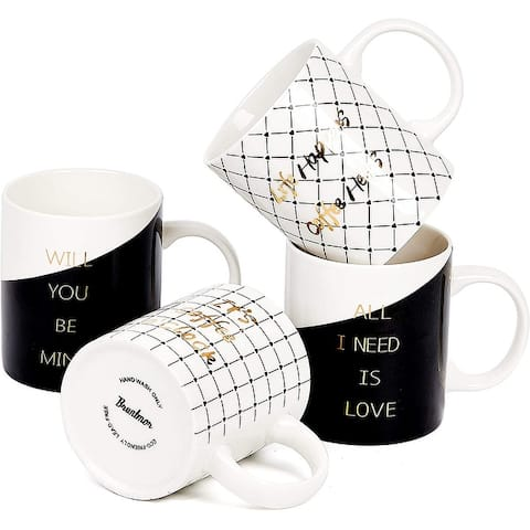 Bruntmor Set Of 4 Ceramic New Bone China Romantic Love Inspirational Coffee/Tea Mug set with gold decal designs, 11 Oz.