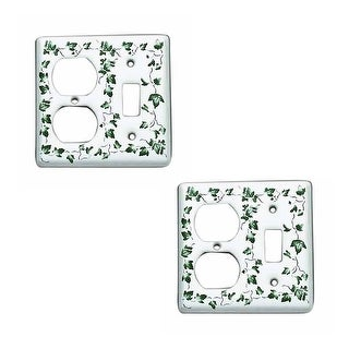 Switch Plate White Porcelain Ivy Toggle/Outlet Switch Pack of 2
