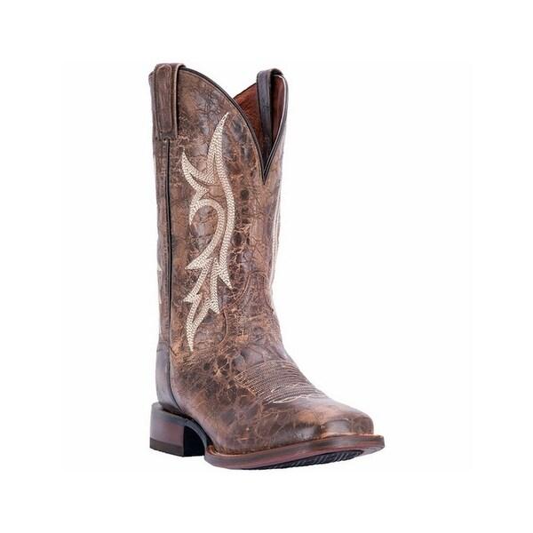 "Dan Post Western Boots Mens 12"" Leather Square Toe 7.5 D Brown DP4540"